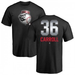 Men's Clay Carroll Cincinnati Reds Midnight Mascot T-Shirt - Black